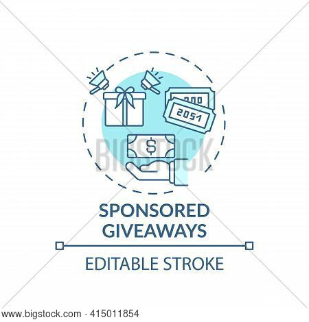 Sponsored Giveaways Concept Icon. Sponsorship Virtual Events Idea Thin Line Illustration. Giveaway P