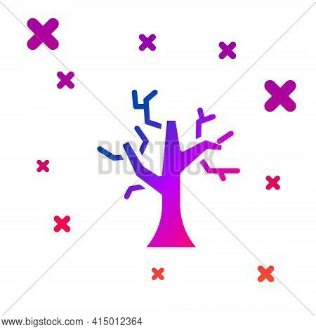 Color Withered Tree Icon Isolated On White Background. Bare Tree. Dead Tree Silhouette. Gradient Ran