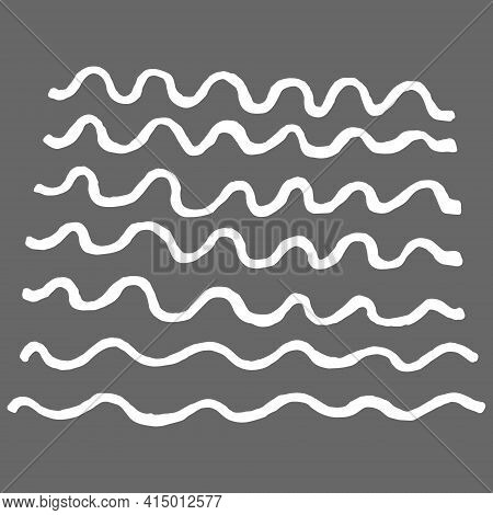 Texture Of Stripes Drawn By Hand With Pen And Ink. Isolated On Gray Background, Vector Illustration.