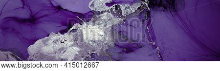 Purple Liquid Paint. Luxury Gray Alcohol Oil Wallpaper. Abstract Marble Texture. Modern Liquid Paint
