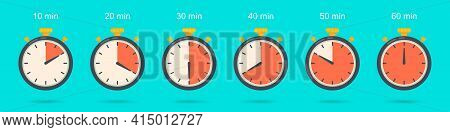 Set Of Stopwatch Icon In A Flat Design