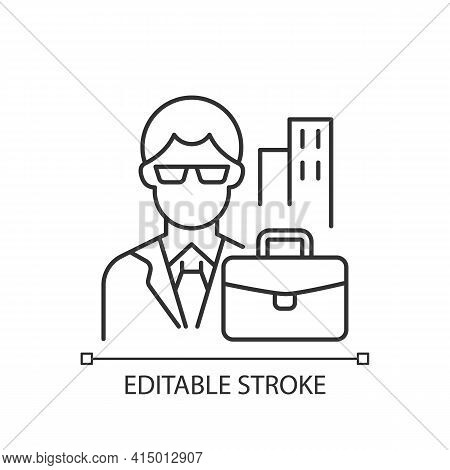 White Collar Worker Linear Icon. Professional Businessman. Office Job, Corporate Employee. Thin Line