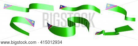 Set Of Holiday Ribbons. Flag Of Namibia Waving In Wind. Separation Into Lower And Upper Layers. Desi