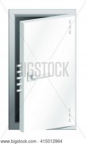 Realistic Open Door Of Bomb Shelter Or Bank Vault Made Of Thick Steel. Safe Storage And Shelter. Hig