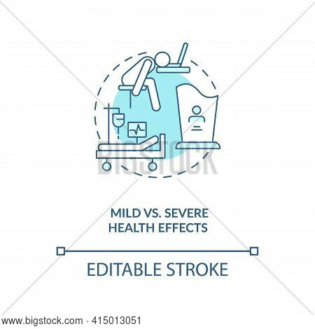 Mild Vs Severe Health Effects Concept Icon. Different Result After Illness Treatment Process. Covid