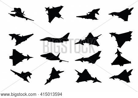 Military Fighter Jet Vector Silhouettes On A White Background