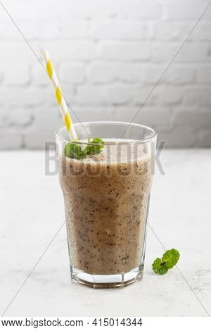 Fresh Fruit Smoothie With Banana And Blueberry, Bright Backdrop