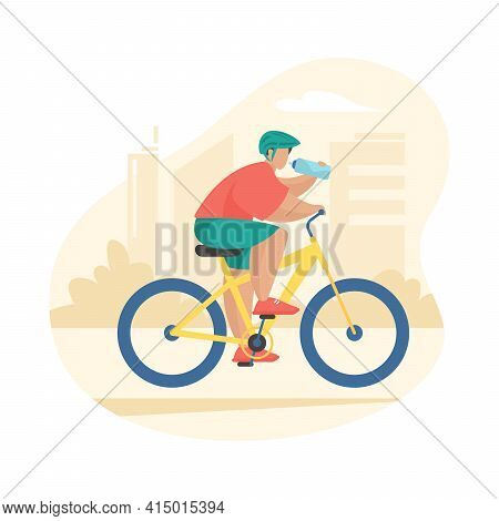 Man In Sports Wear Riding Bike And Drinking Bottled Water. Male Cartoon Character Bicyclist Cycling