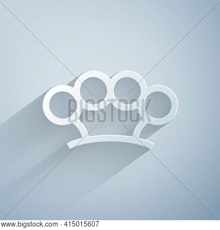 Paper Cut Brass Knuckles Icon Isolated On Grey Background. Paper Art Style. Vector