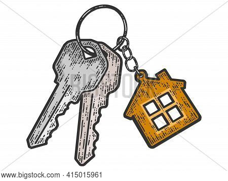 Bunch Of Keys With A Keychain House. Sketch Scratch Board Imitation Color.