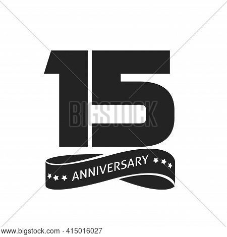 15 Years Anniversary Celebrating Vector Logo Icon, Number 15th Year Birthday Label Tag Black And Whi