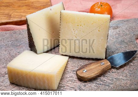 Cheese Collection, Pieces Of Hard Spanish Manchego Curado, Viejo And Iberico Cheeses