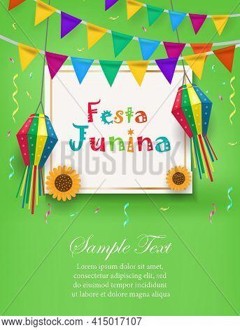 Festa Junina Holiday Invitation Poster. Brazilian Latin American Festival Template For Your Design F