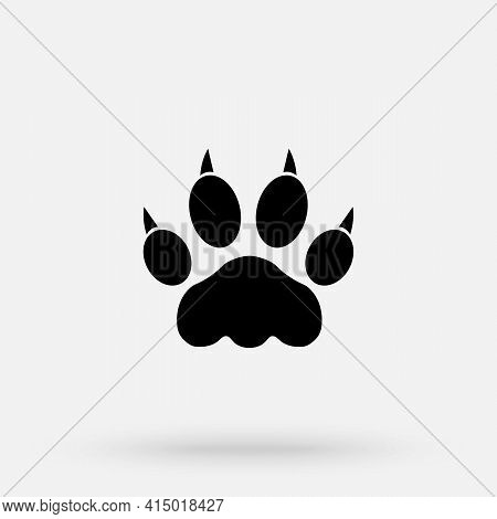 Vector Illustration. Lion Paw Prints Logo. Black On White Background. Animal Paw Print With Claws.