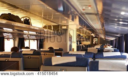 Los Angeles, California, Usa - 24 Oct 2019: Amtrak Pacific Surfliner Commuter, Express Train Car Ins