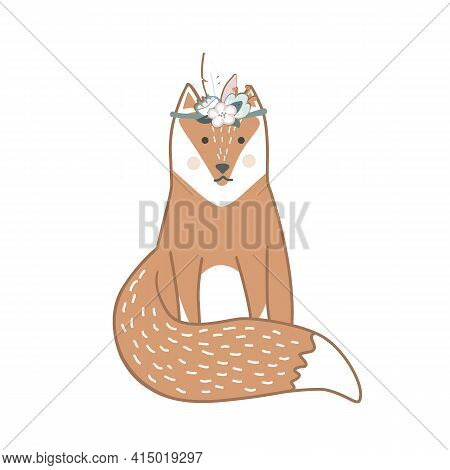 Cute Wild Fox In The Flower Wreath Hand Drawn In Scandinavian Style. Vector Illustration Isolated On