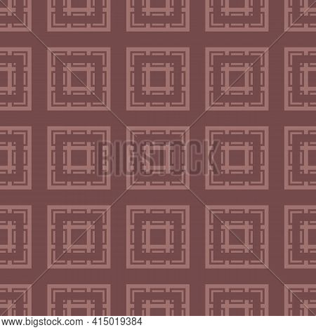 Vector Geometric Ornament With Squares. Abstract Seamless Pattern With Repeat Tiles. Brown Color. Si
