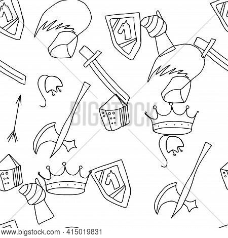 Seamless Mediaeval Knight Tools And Weapons Pattern, Doodle Sketch