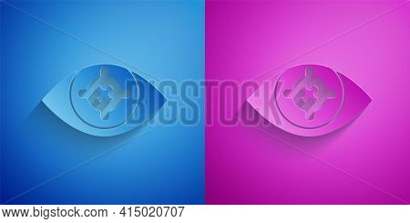 Paper Cut Eye Scan Icon Isolated On Blue And Purple Background. Scanning Eye. Security Check Symbol.