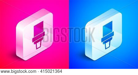 Isometric Safety Belt Icon Isolated On Pink And Blue Background. Seat Belt. Silver Square Button. Ve