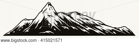Mountain Peak Monochrome Concept In Vintage Style Isolated Vector Illustration