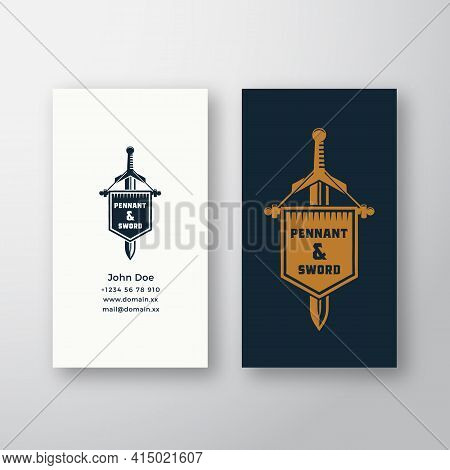 Pennant And Sword Abstract Vector Logo And Business Card Template. Vintage Emblem With Retro Typogra