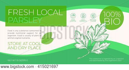 Fresh Local Herbs Label Template. Abstract Vector Packaging Horizontal Design Layout. Modern Typogra