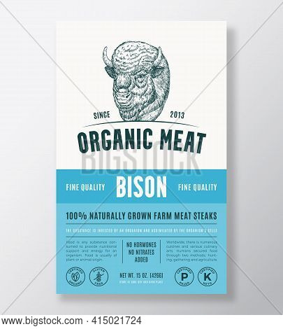 Organic Meat Abstract Vector Packaging Design Or Label Template. Farm Grown Bison Steaks Banner. Mod