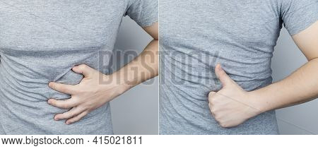 Before And After Abdominal Pain. On The Left Is A Photo Of How The Person Is Hurt Stomach, And On Th