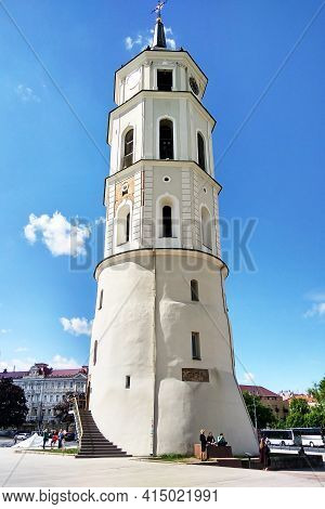 Vilnius, Lithuania - May 24, 2017: The Bell Tower Of The Vilnius Archcathedral Basilica (cathedral S