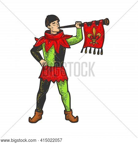 Medieval Trumpeter Color Sketch Engraving Vector Illustration. T-shirt Apparel Print Design. Scratch