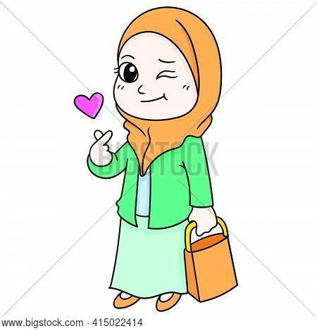 Beautiful Muslim Women Dress Neatly And Elegantly, Character Cute Doodle Draw. Vector Illustration