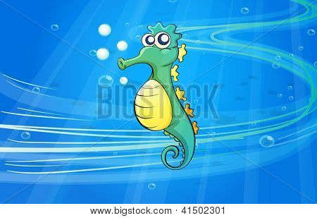 Illustration of a sea horse in the sea