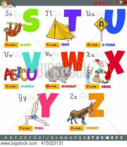 Cartoon Illustration Of Capital Letters Alphabet Educational Set For Reading And Writing Practice Fo