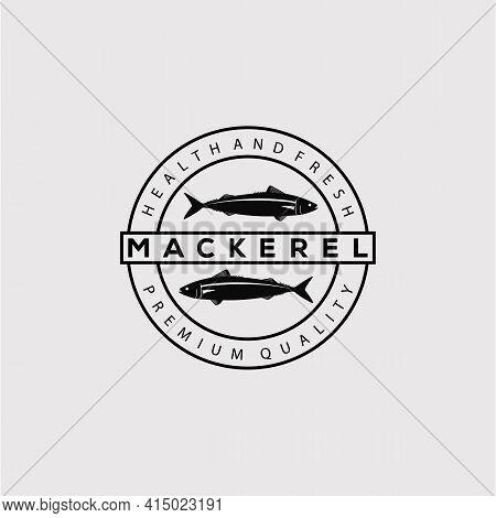 Silhouette Mackerel Fish Logo Vector Illustration Design. Seafood Label Symbol