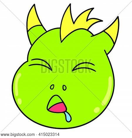 Sleeping Dinosaur Head Emoticon Until It's Drooling, Character Cute Doodle Draw. Vector Illustration