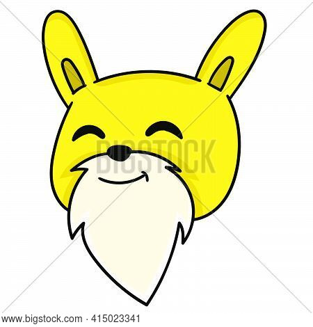Bearded Bunny Grandpa Head Emoticon With Smiling Face, Character Cute Doodle Draw. Vector Illustrati