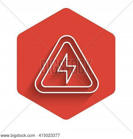 White Line High Voltage Icon Isolated With Long Shadow. Danger Symbol. Arrow In Triangle. Warning Ic