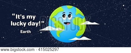 Happy Earth Day Banner. Environment Protection Day. World Earth Celebration. Friendly Character Of P