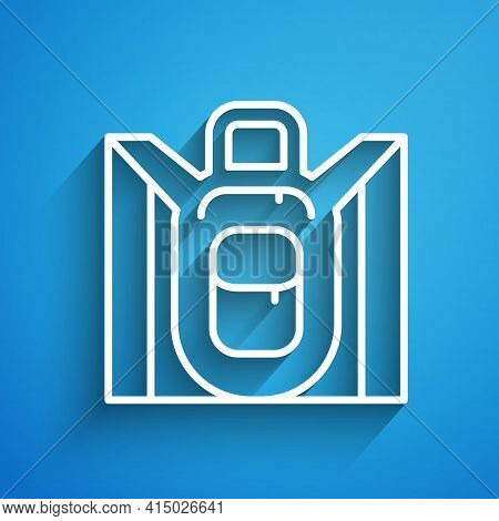 White Line Hiking Backpack Icon Isolated On Blue Background. Camping And Mountain Exploring Backpack