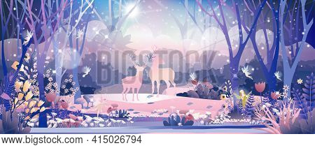 Fantasy Cute Little Fairies Flying And Playing With Reindeers Family In Magic Forest At Christmas Ni