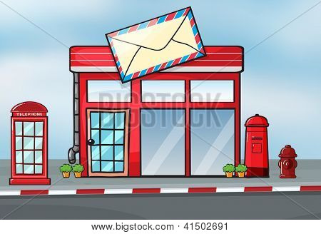 Illustration of a post office near a street