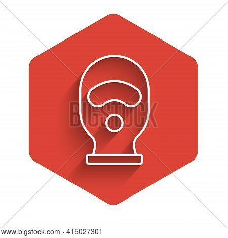 White Line Balaclava Icon Isolated With Long Shadow. A Piece Of Clothing For Winter Sports Or A Mask