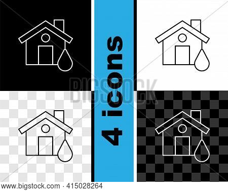 Set Line House Flood Icon Isolated On Black And White, Transparent Background. Home Flooding Under W