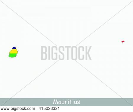 Mauritius Map Flag. Map Of The Republic Of Mauritius With The Mauritian National Flag Isolated On Wh