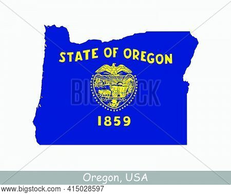 Oregon Map Flag. Map Of Or, Usa With The State Flag Isolated On A White Background. United States, A