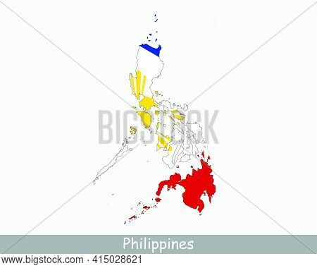 Philippines Flag Map. Map Of The Republic Of The Philippines With The Filipino National Flag Isolate