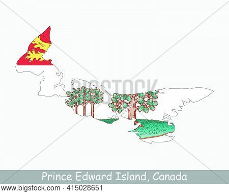 Prince Edward Island Map Flag. Map Of Pe, Canada With Flag Isolated On A White Background. Canadian