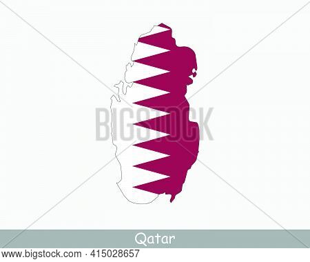 Qatar Flag Map. Map Of The State Of Qatar With The Qatari National Flag Isolated On A White Backgrou