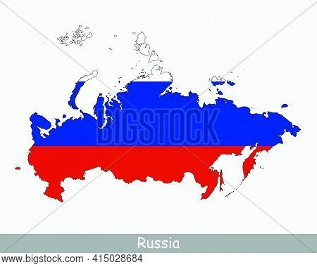 Russia Flag Map. Map Of The Russian Federation With The Russian National Flag Isolated On A White Ba
